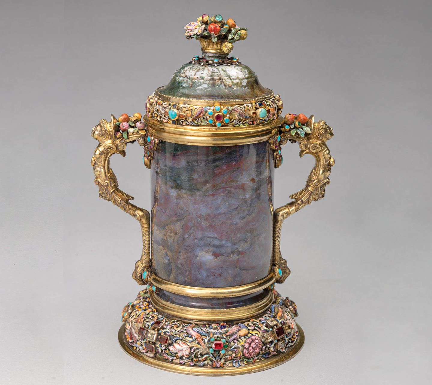 Figure 3 (left): after treatment, Possibly Johann Zeidler, Two-Handled Covered Cup, Nördlingen, Germany, mid-17th century, moss agate, silver-gilt, and enamel on copper with rubies, garnets, emeralds, sapphires, citrine, and turquoise. Taft Museum of Art, 1931.267