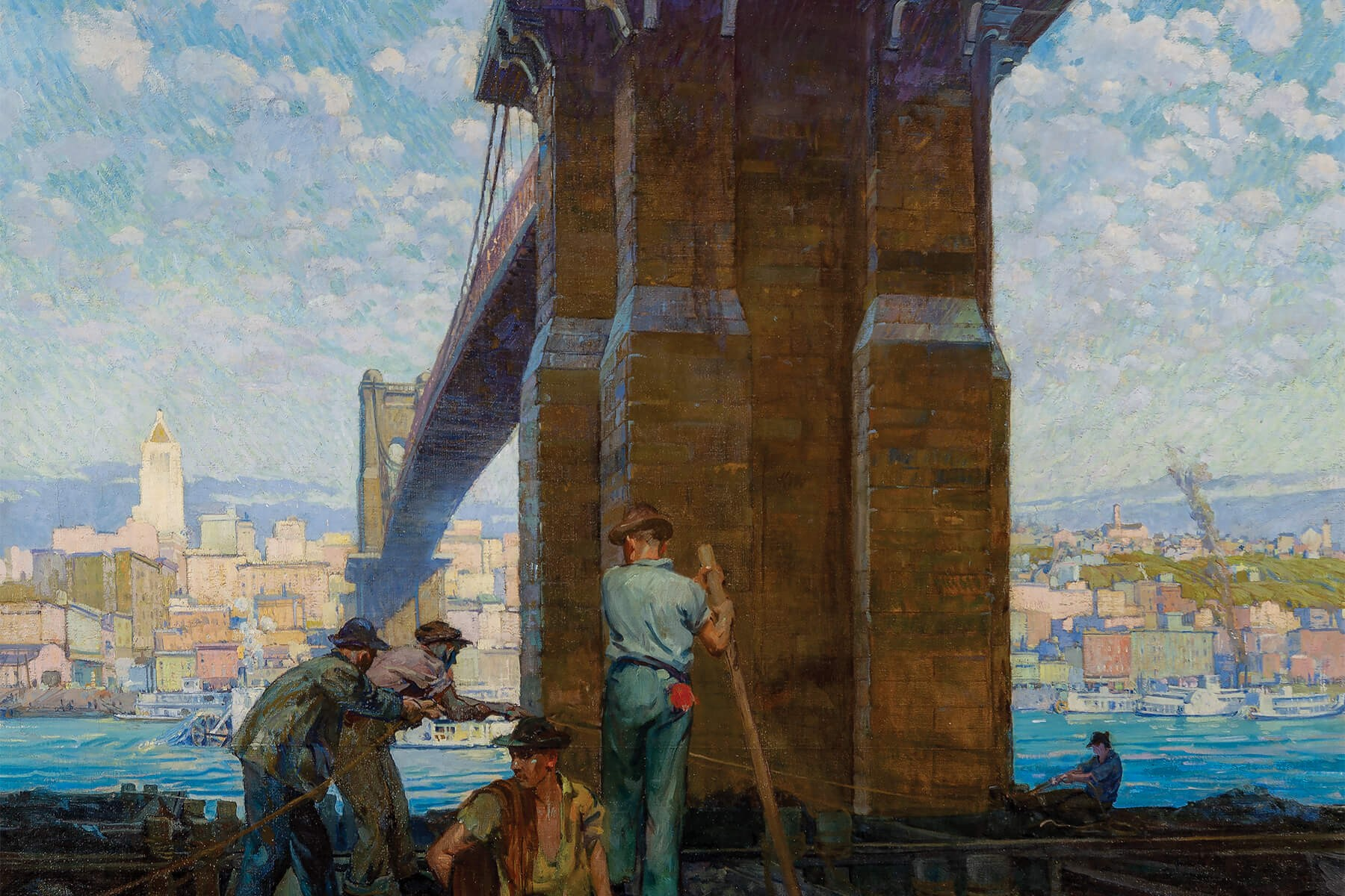 Herman Henry Wessel, Jamming Barges Under the Suspension Bridge, 1921, oil on canvas, 56 x 167 in. Collection of the University of Cincinnati